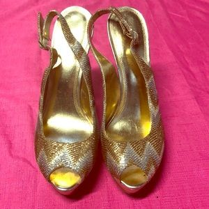 Enzo Angiolini Gold Silver Heels Size 9.5 9 1/2